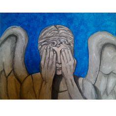 Weeping Angel, original acrylic painting by Kris Fairchild. Original has sold, prints available.