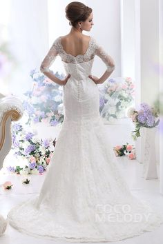 Fancy Sheath-Column V-Neck Half Sleeve Court Train Lace Wedding Dress CWXT1300A #weddingdresses #cocomelody