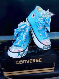 Frozen elsa Swarovski converse, elsa birthday shoes, elsa turquoise Swarovski crystal converse, Queen Elsa shoes