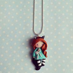 Collier Petite fille chat - rousse en vert d'eau : Collier par madame-manon