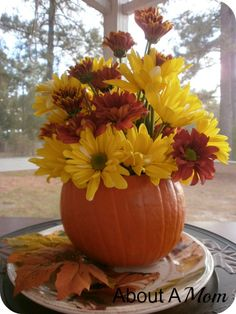 How to Make a Simple Fall Centerpiece - About A Mom