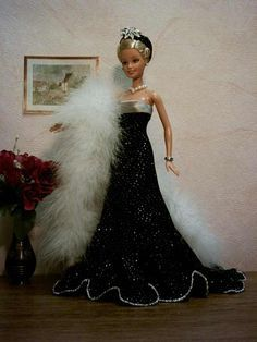 Mimin Dolls: Barbie- vestido de baile preto - gratis Schnittmuster - free Pattern