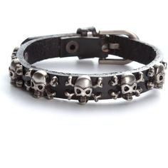 Amazon.com: Pirate Skull Crossbones Bracelet Black Leather Men Women... ($8.40) ❤ liked on Polyvore featuring men's fashion, men's jewelry and mens watches jewelry