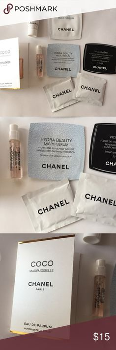 Chanel makeup sample bundle All brand new never used. Le Blanc cream, hydro beauty micro serum, coco mademoiselle perfume, blue serum, makeup cleansing wipes. Sephora Makeup