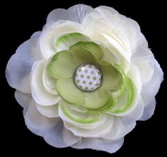 #Handmade Green Polka Dot Flower Hair Clip by ninjavspirategifts on Etsy, $8.00