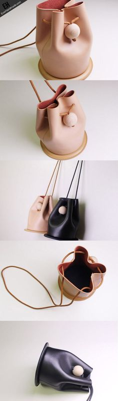 Handmade Leather bucket bag shoulder bag black beige for women leather crossbody bag