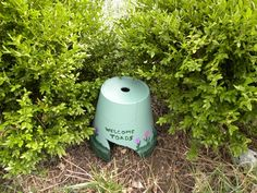 Make a cute toad house out of an old clay pot. Fun project for kids - with adult supervision.