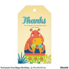 Pool party Cute Hippo Birthday Thank you tags Pool Party Kids, Summer Beach Party, Party Favors For Kids Birthday, Kid Pool, Birthday Thank You, Birthday Invitations, Birthday Parties, Disney Balloons, Cute Hippo