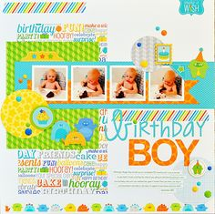 Project Ideas for Doodlebug Design - Hip Hip Hooray Collection - 12 x 12 Cardstock Stickers - This and That Baby Boy Scrapbook, Birthday Scrapbook Layouts, Baby Scrapbook Pages, Scrapbook Titles, Scrapbook Sketches, Scrapbook Page Layouts, Scrapbook Cards, Birthday Puns, Boy Birthday