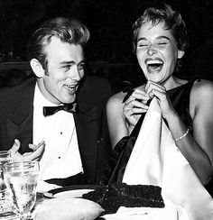 "James Dean Ursula Andress. I love this photo. They look like they're having a blast in this moment. She's genuinely laughing her ass off here. Funny, i think. I heard he had a pretty funny sense of humor , despite the moodiness and all that "" smoldering"", lol"