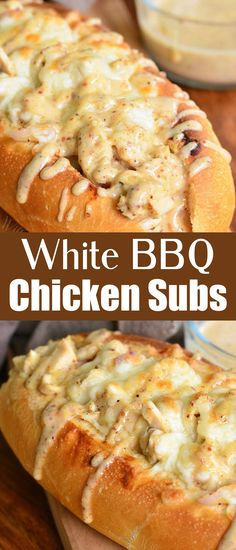 Total comfort and a whole lot of flavor! Delicious hot sub sandwich packed with chicken, cheese, and homemade white BBQ sauce. #whitebbq #chicken #subs #chickensubs #sandwich #lunch #easy Chicken Subs, Bbq Chicken, Chicken Recipes, Chicken Sandwich, Chicken Ideas, White Chicken, White Bbq Sauce, What Recipe, No Cook Meals
