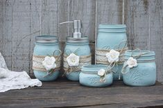 Mason Jar Bathroom Set, Blue, Ivory, Shabby Chic, Soap Dispenser, Bathroom Jars, 5 Piece Set, Burlap, Rustic, Distressed, Metal Soap Pump