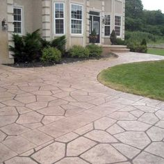 Stamped concrete driveway - We pressure wash driveways!  Ask about our patio makeovers!More curb appeal & home maintenance at www.housebeautifuldallas.com
