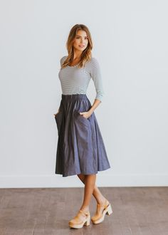 With striped shirt and A-line skirt - Styleoholic - Mode - Modest Outfits, Modest Fashion, Summer Outfits, Cute Outfits, Fashion Outfits, Modest Clothing, Fashion Ideas, Apostolic Fashion, Fashion Skirts