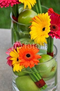 Gerber and green apple Bouquet Table Centerpiece