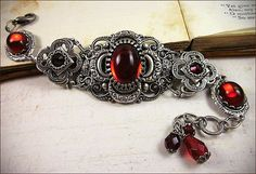 Medieval Bracelet, Ruby, Red, Medieval Clover, Renaissance Jewelry, Antiqued Filigree Jewelry, Tudor Jewelry, Ready to Ship