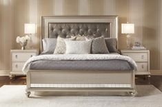 My New Bedroom Set!!! My Diva King #Bed has glitz and glam without the crazy price tag! The #platinum finish and jewel tufted headboard make this transitional bed an untouchable value loaded with style.