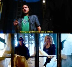 cisco & caitlin + cosplaying their doppelgangers /// #cisco ramon #the flash #the flash: 2x22