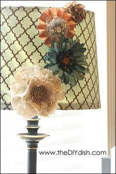 DIY RECOVER LAMPSHADES! U CAN ALWAYS PICK UP A BUNCH OF CHEAP LAMPS AT GOODWILL FOR LESS THAN $5.00
