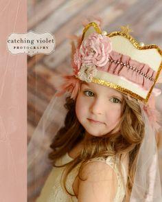 Vintage Roses Princess Crown, Vintage Inspired Fabric Crown for Tea Parties