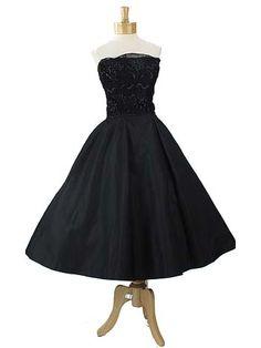 50's Strapless Black Silk and Sequined Lace Full Skirt Tea Length Dress