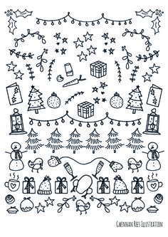 These Christmas borders are amazing for my Bullet Journal! - These Christmas borders are amazing for my Bullet Journal! These Christmas bo - Bullet Journal Printables, Bullet Journal Inspiration, Bullet Journals, Borders Bullet Journal, Christmas Border, Christmas Art, Christmas Lights Drawing, Easy Christmas Drawings, Christmas Holidays