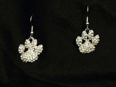 Rhinestone Paw Print  Dangle Earrings