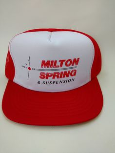 152954b7003 Retro Trucker Hats 1980s · Milton Spring and Suspension Vintage Trucker Hat  Red Mesh Snapback Retro Truck by RockabillyPinUps on Etsy