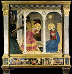 Fra Angelico, The Cortona Altarpiece (The Annunciation, 1433-34). This altarpiece, called Cortona Altarpiece (to be distinguished from the Cortona Triptych) and consisting of the Annunciation and six small predella pictures, was executed for the church San Domenico at Cortona, and in later centuries, probably during the French occupation, was transferred to the church Gesù, presently the Museo Diocesano