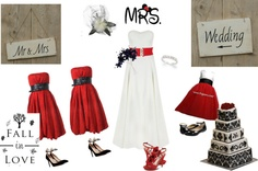 """""""red and white also black wedding"""" by mgreen90 on Polyvore"""