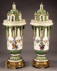 Pair of vases, ca. 1763  French; Sèvres factory  Soft-paste porcelain