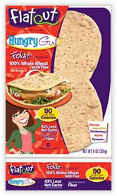 FlatOut HungryGirl Foldits 100% Whole Wheat with Flax: Total Carb: 5g/Dietary Fiber 7g/Calories 90 - that's for the entire sheet of flatbread - they're easy to separate to make open face sandwiches at half those numbers. Both of us prefer these over Mama Lupe's LC Tortillas, & can be found at Walmart in the Deli area