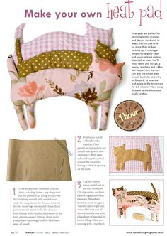 Kitty Heat pad from Sweet Living magazine Issue 2 - diy - Crafts Sewing Hacks, Sewing Tutorials, Sewing Patterns, Sewing Tips, Dress Patterns, Sewing Ideas, Homemade Gifts, Diy Gifts, Fabric Crafts