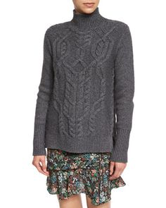 Cable-Knit+Turtleneck+Wool-Blend+Sweater,+Charcoal+by+Veronica+Beard+at+Neiman+Marcus.