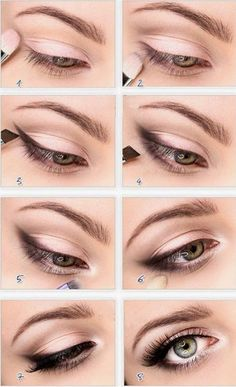 Eye Enlarging makeup- simply put smudged eyeliner or shadow in the outer corner of eyes. Then, apply white eyeliner in your waterline. Lastly, put white eyeshadow or hilighter in the inner corner of your eyes. Pretty Makeup, Love Makeup, Makeup For Small Eyes, Bigger Eyes Makeup, Perfect Makeup, Gorgeous Makeup, Simple Makeup, Perfect Eyeliner, Classy Makeup