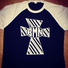 A personal favorite from my Etsy shop https://www.etsy.com/listing/259158177/cross-glitter-monogram-ragaln-t-shirt