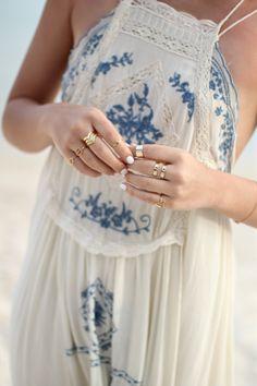 Free People Cream Crochet Detail Blue Embroidery Beach Dress #stylingchaos #lolobu