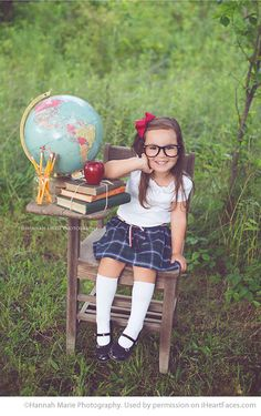 Cute little brown-haired girl sitting at school desk - Creative Ideas for Back to School Photos on I Heart Faces Photography Blog