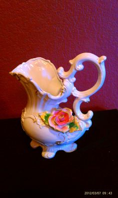 RP: Vintage French Pitcher with Red Rose