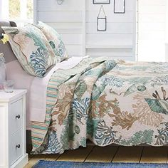 Greenland Home Fashions Jade Atlantis Quilt Set Twin Xl Bedding Sets, Cal King Bedding, Queen Bedding Sets, Quilt Bedding, Bedding Decor, Beach Bedding Sets, Twin Quilt, Bedspread, Coastal Quilts