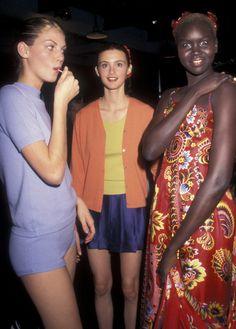 Angela Lindvall, Trish Goff and Alek Wek backstage at Seventh on Sixth/ Todd Oldham fashion show  November 1997 in NYC | Photo Ron Galella.