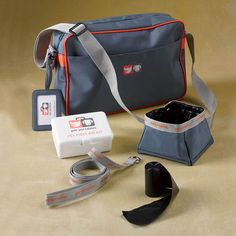 This Orvis travel kit includes a great travel bag with luggage tag, collapsible bowl, collar/lead combo, roll of doggie waste bags, and basic first-aid kit.