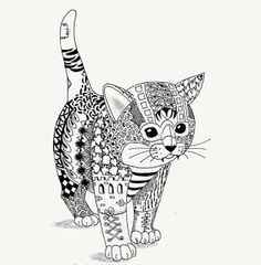 Efie goes Zentangle: Kitten van Ben Kwok