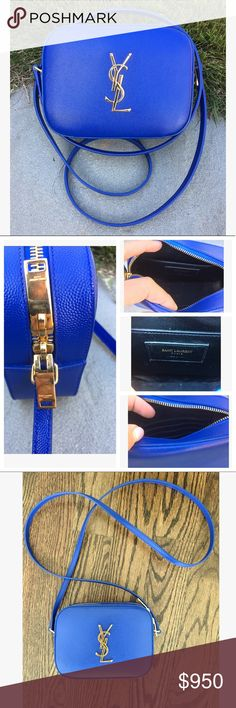 """YSL Saint Laurent Blue & Gold Crossbody Camera Bag YSL Saint Laurent Cobalt Blue Monogram Camera Crossbody Bag. Cobalt blue. Gold hardware  Saint Laurent monogramme grained calfskin leather Crossbody leather strap; 23.6"""" drop. Two-way zip top. one slip pocket, four card slots. YSL lettering at front. 4.7""""H x 6.3""""W x 2""""D. Made in Italy. Gold YSL logo on front   This style is no longer going to be made. Sold out everywhere! Used twice! Excellent condition!!! Blue with gold hardware. 💯…"""