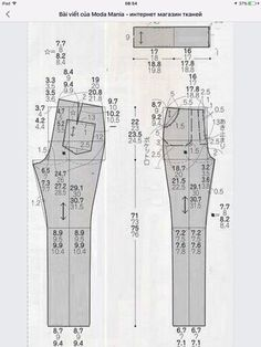 Patterns - from simple to complex Sewing Patterns Free, Free Sewing, Clothing Patterns, Dress Patterns, Sewing Pants, Patterned Jeans, Shirt Refashion, Pattern Drafting, Pants Pattern