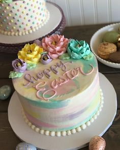 Love this beautiful pastel watercolor cakedon t forget to place your easter cake orders this week laplace beachwood 216 514 2253 or solon 440 394 8049 easter peep cake recipe with colorful bunnies Easter Cupcakes, Easter Cookies, Easter Treats, Easter Desserts, Easter Cake Flowers, Easter Recipes, Easter Cake Fondant, Cake Decorating Techniques, Cake Decorating Tips