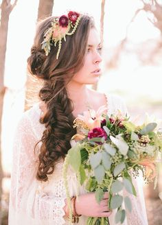 A floral headband perfectly frames a loose side-swept braid. Wedding Hairstyles, Bridal Beauty