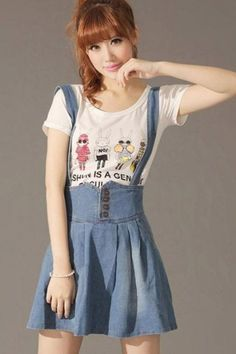 2016 young girl lolita sweet cute Lace Up suspenders short skirt slim high waist all-match spaghetti strap denim skirt overalls Japanese Outfits, Japanese Fashion, Asian Fashion, Fashion Hub, Kawaii Fashion, Cute Fashion, Skirt Fashion, Casual Day Dresses, Dresses For Work
