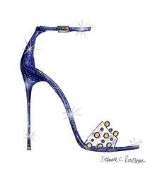 """El diseñador Jerome C. Rousseau dijo \\""""El filo de la medianoche es un elemento maravilloso del cuento de hadas de Cenicienta , que añade tensión y la intensidad de la historia. Eso me inspiró cuando diseñé este estilo de Cenicienta, y el resultado es una sandalia azul oscuro dramático con glitter y tacón elevado... (FOTO:Disney)"""