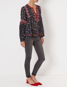 Midnight Floral Embroidered Jamila Blouse